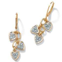 18k Gold over Sterling Silver Diamond Accent Heart Dangle Earrings