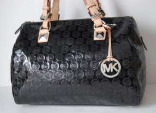 NWT Michael Kors Grayson Jet Set Monogram Mirror Metallic Black Large