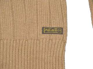 NWT POLO RALPH LAUREN MENS SOLID BROWN V NECK HEAVY KNIT SWEATER SIZE