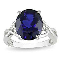 Silver Created Sapphire and Diamond Fashion Ring