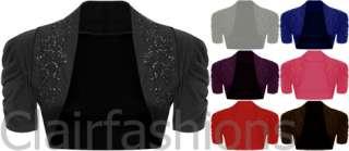Womens Beaded Design Short Sleeve Bolero Cardigan Top 8 14
