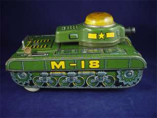Vintage Masudaya Battery Powered Tin Toy M 18 Tank