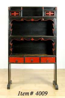 RED BLACK LACQUER ALTAR DISPLAY CABINET Stand Shelf 57