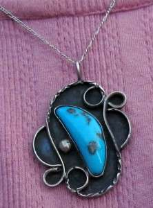 OLD VINTAGE NAVAJO INDIAN STERLING SILVER TURQUOISE PENDANT