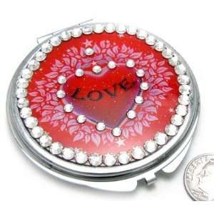 Love Heart with Crystals Compact Makeup/Cosmetic Mirror Beauty