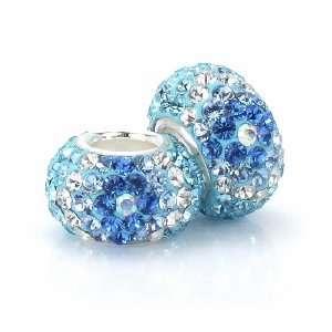 Bella Fascini Turquoise, Aqua, True Blue & Clear Pave Diamond Beads