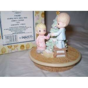 Couple Decorating Christmas Tree Candle Topper