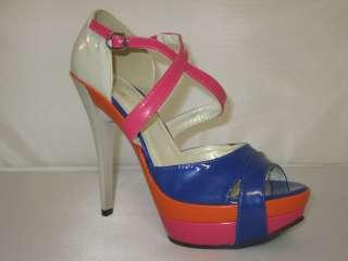 Womens Open Toe High Heels Stiletto Platform Shoes Color Block