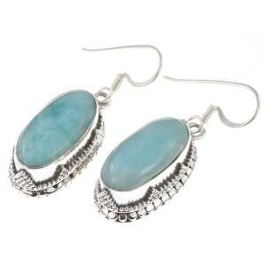 925 Sterling Silver NATURAL LARIMAR Earrings, 1.5, 10.71g Jewelry