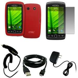 EMPIRE Red Silicone Skin Case Cover + Screen Protector + Car