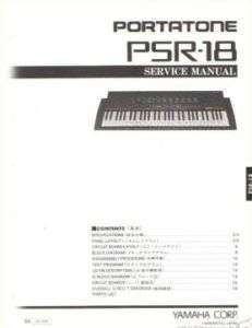 Yamaha Original Service Manual for the PSR 18 Portatone Electronic