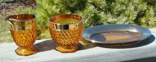 AMBER GOLD DIAMOND POINT INDIANA SUGAR CREAMER TRAY SET