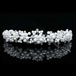 Bridal Flower Rhinestone Crystal Pearl Wedding Headband Tiara 8781