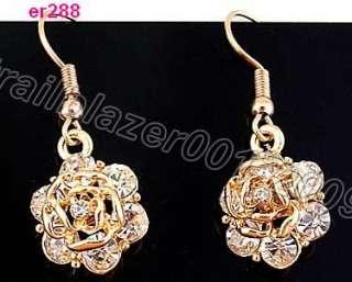 Ladys 14K plated rose flower zircon earring er288