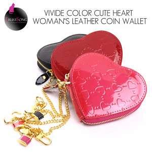 NEW HOT HEART ENAMEL LEATHER WOMENS COIN WALLET PURSES