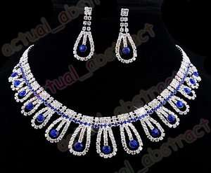 rhinestone costume necklace earring 1SET blue clear