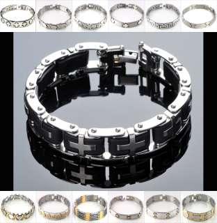 men Silver Bangle Chain Rubber Link Cool Cross Gift Bracelet