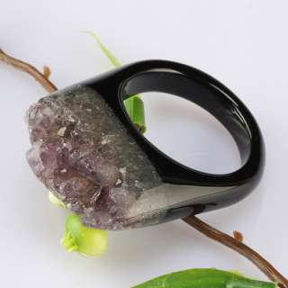 Druzy Geode Crystal Quartz Black Agate GEM Finger Ring