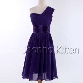New One Shoulder Bridesmaid Prom Gown Evening Party Cocktail Short
