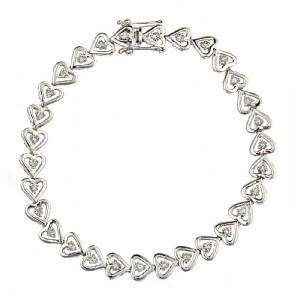 Carat Diamond Heart Link Bracelet 14k White Gold 7