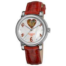 Tissot Womens Lady Heart Mother of Pearl Dial Red Strap Watch