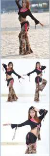 SEXY LONG SLEEVE BELLY DANCE COSTUME TOP + PANTS BD 026 COSTUME
