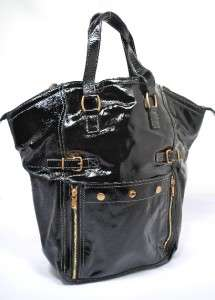 YVES SAINT LAURENT Black Patent Leather Tote Gold Hardware Italy Like