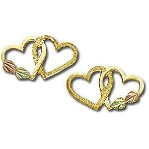 Landstroms Black Hills Gold Heart Earrings   01301 Jewelry