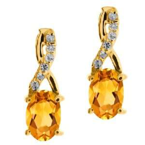 0.87 Ct Oval Yellow Citrine and Topaz Yellow Gold Plated