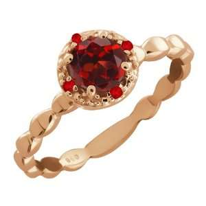 0.63 Ct Genuine Round Red Garnet Gemstone 18k Rose Gold