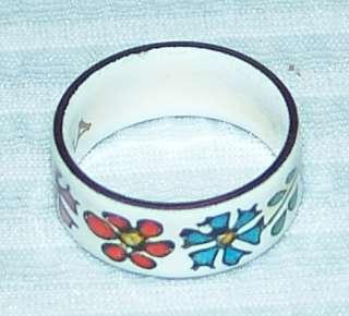 Folklore Hippy Flower Enamel On Copper Wide Band Ring Sz 6 Austria
