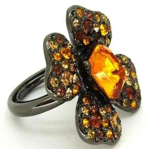 Kenneth Jay Lane KJL Gunmetal Topaz Crystal Flower Ring