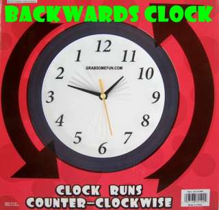 BACKWARDS RUNNING CLOCK Funny Gag Gift Joke Prank