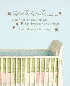 RHYME Wall Art Stickers Twinkle Little Star Room Decor Decals Nursery