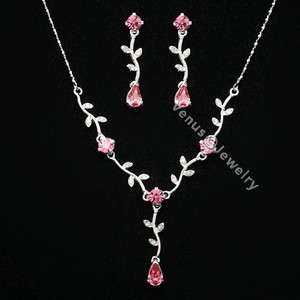 Bridal Wedding Pink Crystal Necklace Earrings set 8274