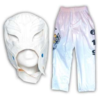 REY MYSTERIO   WWE WHITE REPLICA MASK & PANTS COMBO   KID SIZED