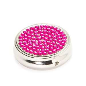 Hot Pink Crystal 3 Day Section Round Metal Pill Box Case