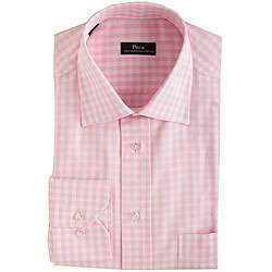 Pera Mens Pink Gingham Dress Shirt