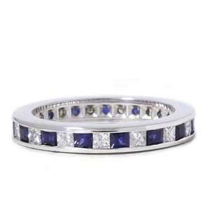 Pompeii3 Inc. 2 CT Princess Cut & Blue Sapphire Diamond