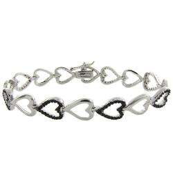 Sterling Silver Black Diamond Accent Heart Bracelet