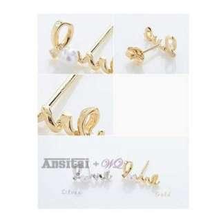 Delicate Love Shape Loving Lover Pearl Earring Ear Nail Pin Gift