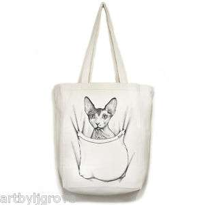 SPHYNX CAT in Pocket Art Open Top TOTE BAG canvas