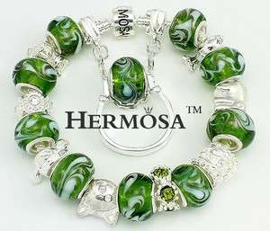 Hermosa Set Green Clouds Murano Silver Bracelet+Ring 8