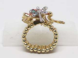Light Pink Crystal Elastic Frog Gold Tone Ring s1119