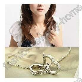 Hot Silver Plated Two Heart Crystal Choker Necklace