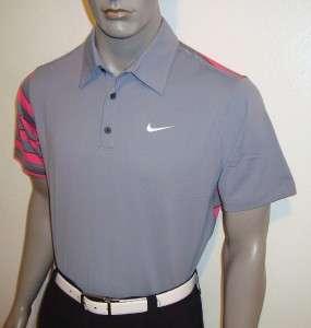 066) M 2012 Nike Golf Tour Issue Premium Stripe Polo Shirt $100