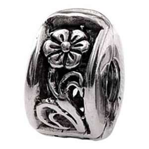 Sterling Silver Flower Lock Bead Charm MS101 Silverado Jewelry