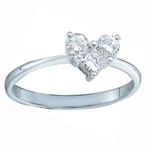 Round Diamond 14k White Gold Three Stone Heart Right Hand Promise Ring