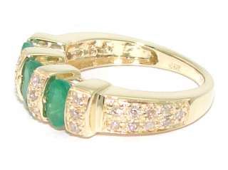 Estate 14kt Yellow Gold 1ct Emerald Diamond Band Ring