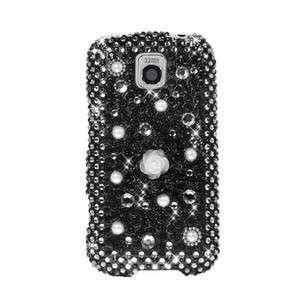 LG OPTIMUS M Metro PCS Diamond Rhinestone Pearl Black Case Mobile